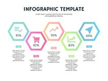 Five hexagonal step element ppt and infographic template Royalty Free Stock Image