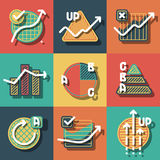 Infographic elements and diagrams icons set. Stock Photo