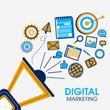 Infographic elements for Digital Marketing concept. Creative megaphone with various infographic elements for Digital Marketing concept Royalty Free Stock Images