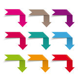 Infographic Elements Flag Arrows. Colored arrow banners on the grey background Royalty Free Stock Image
