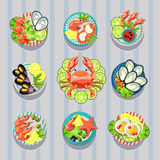 Infographic Elements Food Business Seafood Stock Images