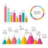 Infographic Elements with Graphs. Flat Design Vector Infographics Design Stock Image