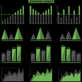 Infographic elements. Green Infographic elements on the black background. Vector illustration Royalty Free Stock Photos
