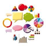 Infographic elements icons set, cartoon style. Infographic elements icons set. Cartoon illustration of 16 infographic elements icons for web vector illustration