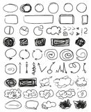 Illustration. Art creation. Infographic elements on isolated background. Big set of different signs. Hand drawn simple elements. Clouds with inscriptions. Line royalty free illustration