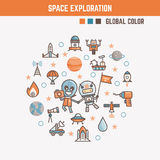 Infographic elements for kids about space exploration Royalty Free Stock Photo