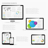 Infographic elements with laptop Royalty Free Stock Image