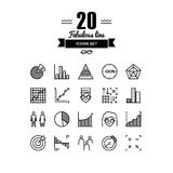 Infographic elements line icons set. Thin lines icons set of infographics elements, infochart statistics, big data analytics, company chart and graph, people Stock Photography