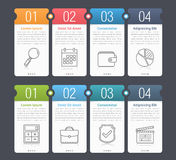 Infographic Elements with Numbers and Text. Set of infographic elements with numbers, line icons and place for your text, can be used as workflow, process, steps Stock Photo