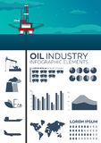 Infographic elements of Oil Industry. Sea. Oil platform. Vector flat illustration. Stock Photography