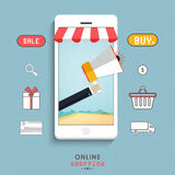 Infographic elements for Online Shopping concept. Stock Images