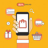 Infographic elements for Online Shopping concept. Illustration of human hand holding smartphone with other elements for Online Shopping concept Royalty Free Stock Photos
