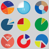 Infographic Elements, pie chart set icon, business elements and statistics. Set of charts and graphs for reports and statistics Stock Image