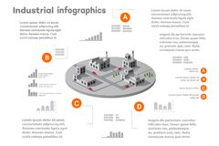 Infographic elements for presentation. Building 3D industry construction of isometric of flat design with urban landscape and industrial factory buildings and Stock Photography