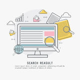 Infographic elements for Search Result. Online Search Result concept with colorful elements and digital device showing website marketing and promotions Stock Photo