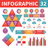 Infographic Elements 32. A set of conceptual design elements to create your infographics Stock Images
