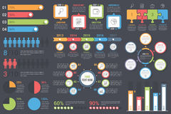 Infographic Elements. Set of infographic elements on dark background - bar graphs, human infographics, pie charts, steps and options, workflow, puzzle, percents Stock Image