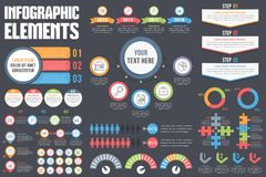 Infographic Elements. Set of different infographic elements on dark background Stock Photo