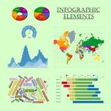 Infographic elements set map chart graph stock illustration