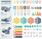 Infographic Elements Set with maps of the countries USA, China, Russian Federation. Business infographic with markers Royalty Free Stock Image