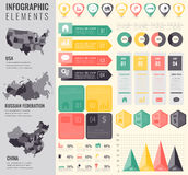 Infographic Elements Set with maps of the countries USA, China, Russian Federation. Business infographic with markers Royalty Free Stock Images