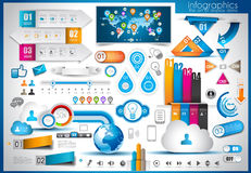 Infographic elements - set of paper tags. Technology icons, cloud cmputing, graphs, paper tags, arrows, world map and so on. Ideal for statistic data display Stock Photo
