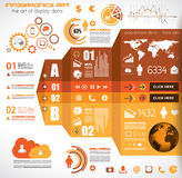 Infographic elements - set of paper tags, technology icons... Stock Images