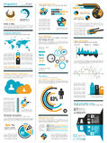 Infographic elements - set of paper tags, technology icons... Royalty Free Stock Image