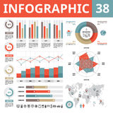 Infographic elements 38. Set of vector design elements in flat style for business presentation, booklet, web site etc. Royalty Free Stock Photos