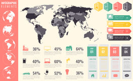 Infographic Elements Set. World map, markers, charts and other elements. Business infographic. Vector Royalty Free Stock Photos