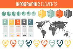 Infographic Elements Set. World map, markers, charts and other elements. Business infographic. Vector Stock Photo