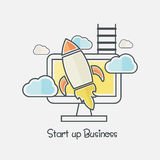 Infographic elements for Start up a Business. Colorful Infographic elements with Rocket for Start up a New Business plans, ideas and strategies Stock Photo