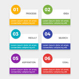 Infographic elements with steps process, idea and result, search aspiration Royalty Free Stock Photo