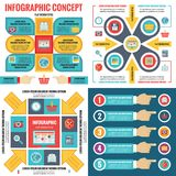 Infographic elements template business concept banners in flat design style for presentation, brochure, website and other project. Abstract infograph creative Stock Photography