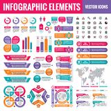Infographic elements template collection - business vector Illustration in flat design style for presentation, booklet, website. Etc. Big set of Infograph and stock illustration