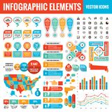 Infographic elements template collection - business vector Illustration for presentation, booklet, website etc. Big set of Infograph and icons. USA map vector illustration