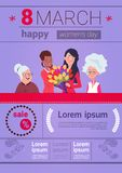 Infographic Elements Template For International Women Day With Different Ladies On 8 March Background With Copy Space. Flat Vector Illustration royalty free illustration