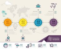 Infographic elements with travel icons. can be used for travel infographic. Web design, banner template, number options, step up options, workflow layout royalty free illustration