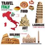 Infographic elementy dla podróżować Włochy royalty ilustracja