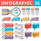 Infographic elementy 36 Set wektorowi projektów elementy w mieszkanie stylu dla biznesowej prezentaci, broszury, strony interneto Zdjęcia Royalty Free
