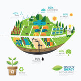 Infographic Energy Leaf Shape Template Design.route To Clean Royalty Free Stock Photo