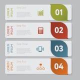 Infographic Entwerfen Sie Zahlfahnen-Schablonengraphik oder Websiteplan stock abbildung
