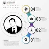 Infographic Entwurf mit Kreisen Shirtmänner und -frauen, verwendbar für das Bekanntmachen und die Handelszwecke Vektor Stockfoto