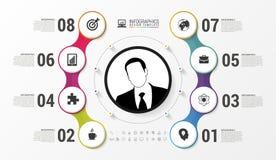 Infographic Entwurf mit Kreisen Shirtmänner und -frauen, verwendbar für das Bekanntmachen und die Handelszwecke Vektor Lizenzfreie Stockbilder