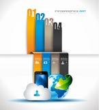 Infographic-Entwurfsschablone mit Papierumbauten Stockfotografie