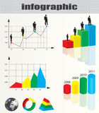 Infographic et ramassage d'homme d'affaires Photo stock