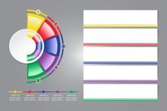 Infographic etiketter som en tom cirkel och en färgrik halvcirkelaro Royaltyfri Bild