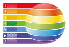 Infographic examples colored bands arrows lines paper circle globe. Infographic examples colored arrows circle numbers, globe Royalty Free Stock Photo