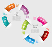 Infographic examples colored bands arrows lines paper Stock Photo
