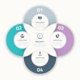 Infographic för affärsalternativ för cirkel härliga fyra beståndsdel Arkivbild